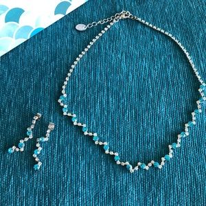 Clear and blue stone necklace and earring set